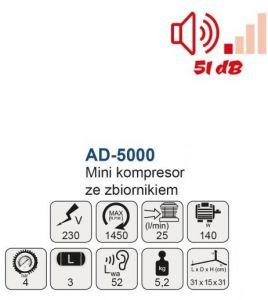 Mini (Airbrush) Kompresor Ad 5000 se zásobníkem Mar Aerograf