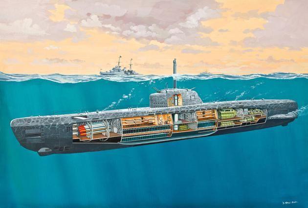 Deutsches U-Boot Typ XXI mit Interieur Revell