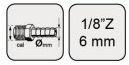 """Koncovka 1/8"""" vnější závit s trnem na hadici 6mm Mar Aerograf"""