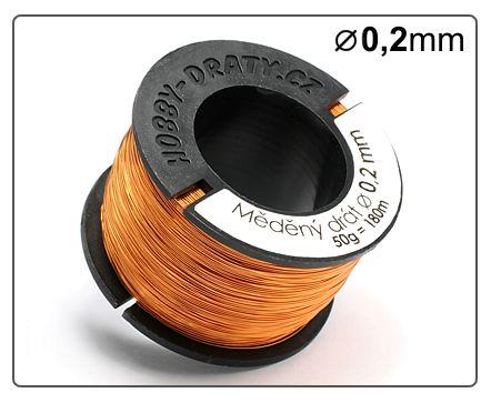 Měděný drát 0,2/ 50g / 180m