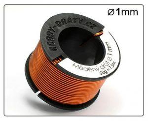 Měděný drát 1mm / 50g / 7,5m