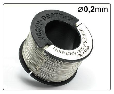 Nerezový drát velikost 0,2mm , návin 210m, 50g