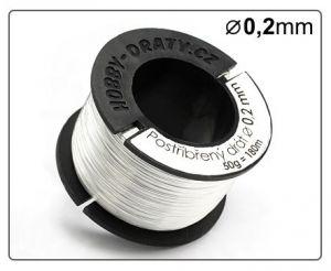 Postříbřený drát 0,2mm / 50g / 170m