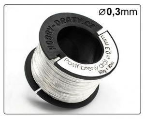Postříbřený drát 0,3mm / 50g / 20m