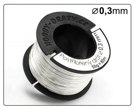 Postříbřený drát 0,3mm / 50g / 75m