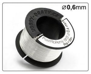 Postříbřený drát 0,6mm / 50g / 20m
