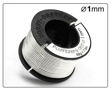 Postříbřený drát 1mm / 50g / 7m